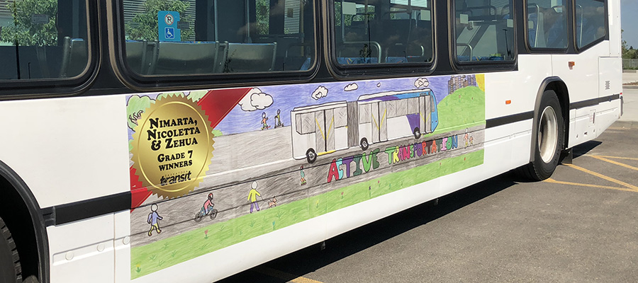 Student artwork featured on Saskatoon Transit bus